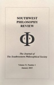 Southwest Philosophy Review 31 (1)